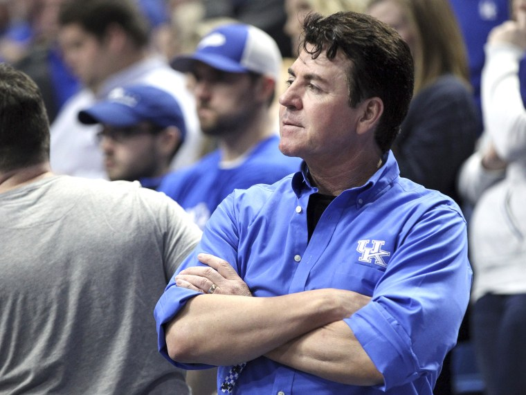 John Schnatter watches the second half of an NCAA college basketball game between Kentucky and LSU in Lexington, Ky. on Feb. 12, 2019.