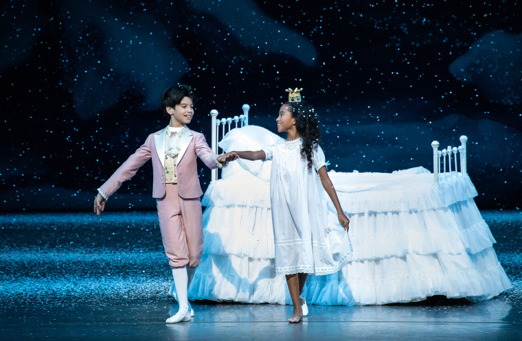 "Tanner Quirk and Charlotte Nebres in New York City Ballet's production of George Balanchine's ""The Nutcracker."""