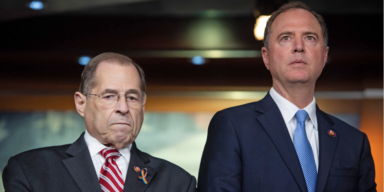 Reps. Jerrold Nadler, D-N.Y., chairman of the House Judiciary Committee, and Adam Schiff, D-Calif., chairman of the House Intelligence Committee, during a press conference on Capitol Hill on June 11, 2019.