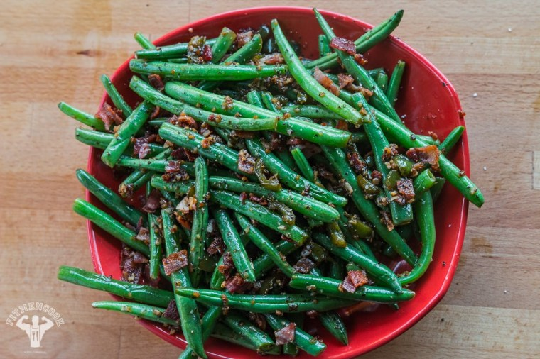 Bacon, jalapeno and garlic green beans