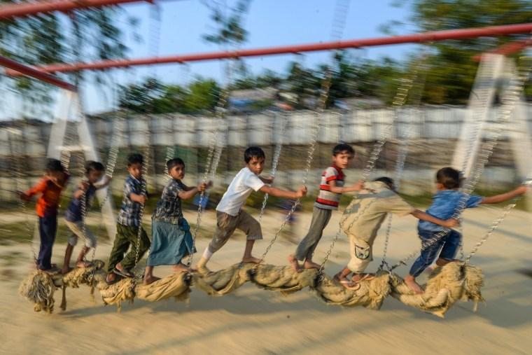 Image: Rohingya children play at a playground at Jamtola refugee camp in Ukhia o