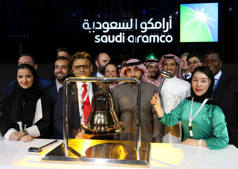 Image: The official ceremony marking the debut of Saudi Aramco's initial public offering (IPO) on the Riyadh's stock market, in Riyadh, Saudi Arabia,