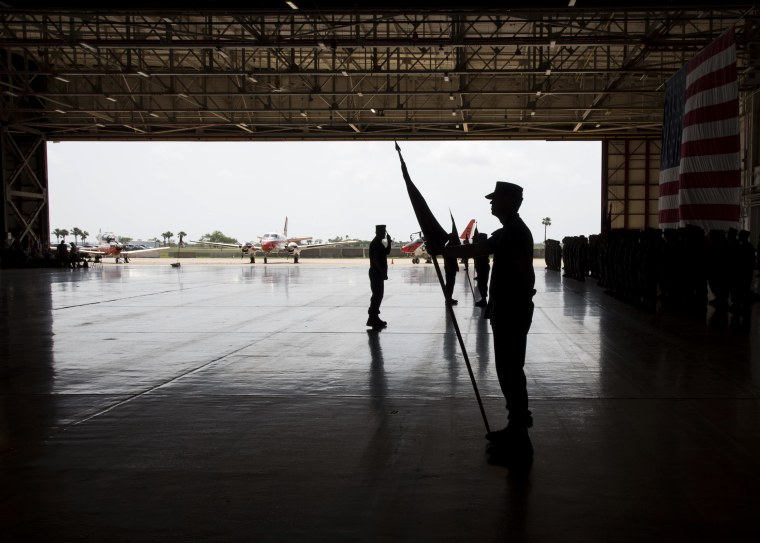 Image: A command ceremony at the Naval Air Station Corpus Christi in Texas on June 1, 2018.