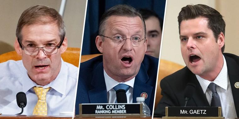 Rep. Jim Jordan (R-OH), Ranking member of the House Judiciary Committee Doug Collins (R-GA), and Rep. Matt Gaetz (R-FL).