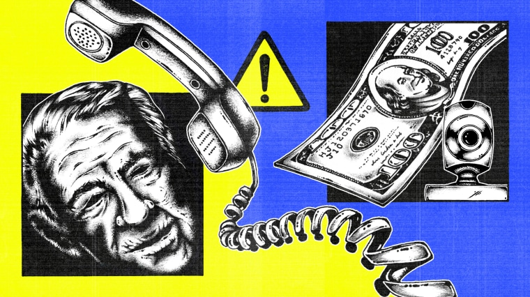 Illustration in a collage style of a older man's face, a phone, a caution sign, a webcam, and 100 dollar bill.
