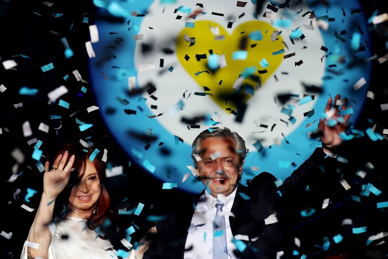 Image: Argentinian President Alberto Fernandez and Vice President Cristina Fernandez de Kirchner at the Casa Rosada Presidential Palace after their inauguration in Buenos Aires on Dec. 10, 2019.