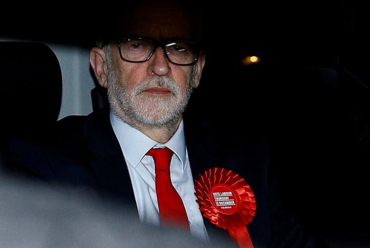 Image: Britain's opposition Labour Party leader Jeremy Corbyn leaves the Labour Party's headquarters following the general election in London