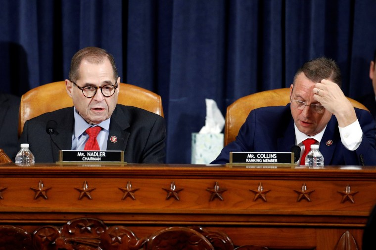 Image: House Judiciary Committee Chairman Rep. Jerrold Nadler and ranking member Rep. Doug Collins work during a House Judiciary Committee markup of the articles of impeachment against President Donald Trump