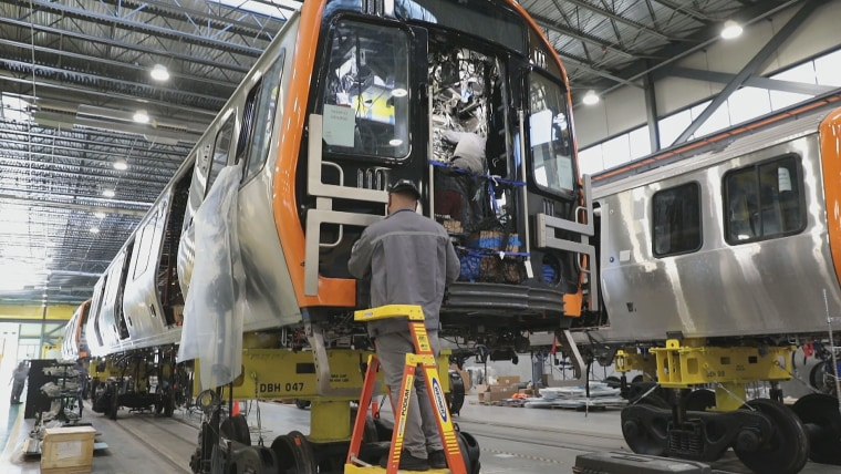 Trains being made at the CRRC MA facility in Springfield, Mass.