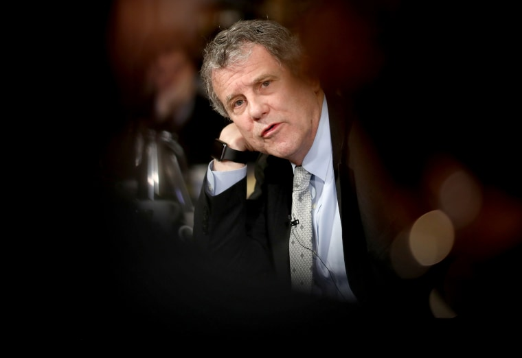 Image: Sen. Sherrod Brown, D-Ohio, answers questions during a round table in Washington on Feb. 12, 2019.