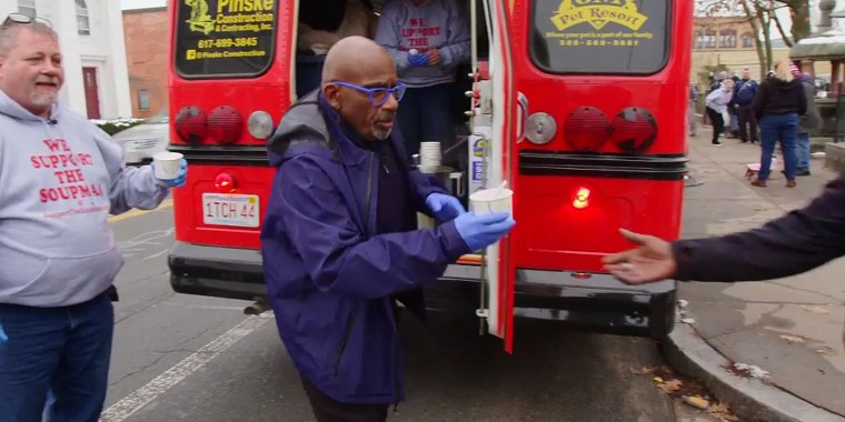 TODAY's own Al Roker visited Massachusetts 'Souperman' Peter Keheller to help hand out soup to those in need.