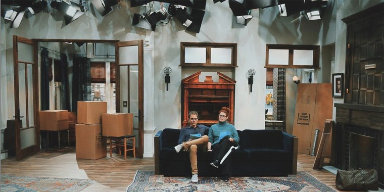 """Debra Messing posted a photo of her and co-star Eric McCormack on the """"Will & Grace"""" set, surrounded by boxes."""