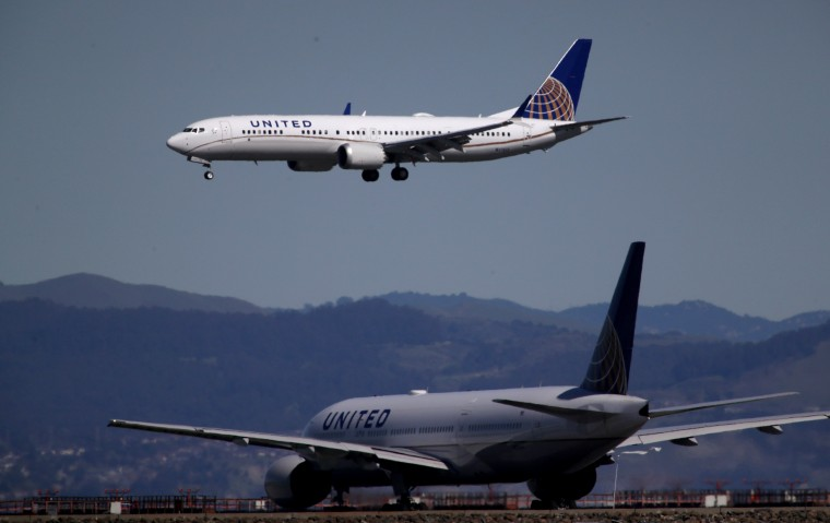 Image: A United Airlines Boeing 737 Max 9 aircraft lands at San Francisco International Airport in California on March 13, 2019.