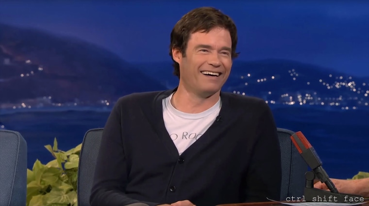 A still from a deepfake video in which Bill Hader slowly transforms into Arnold Schwarzenegger.