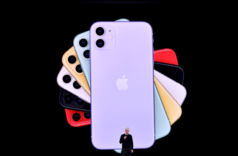 Image: Apple CEO Tim Cook unveils iPhone 11 models during a product launch event at the company headquarters in Cupertino, Calif., on Sept. 10, 2019.