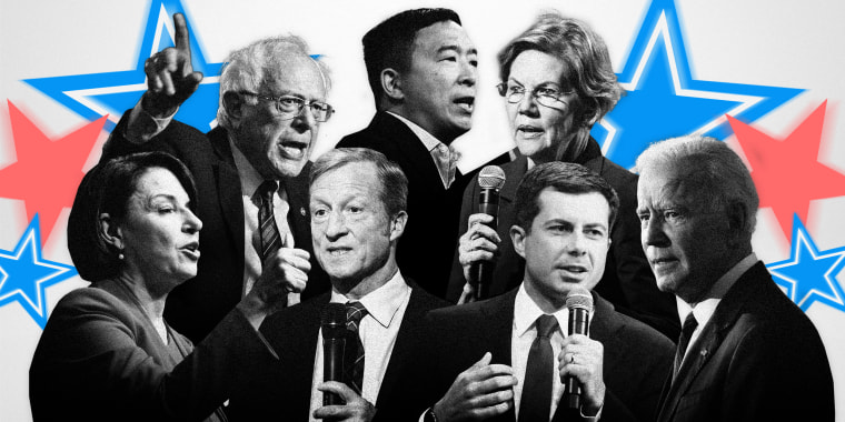 Image: Seven Democratic presidential candidates will take the stage in a debate sponsored by PBS Newshour and Politico  in Los Angeles on Thursday night.