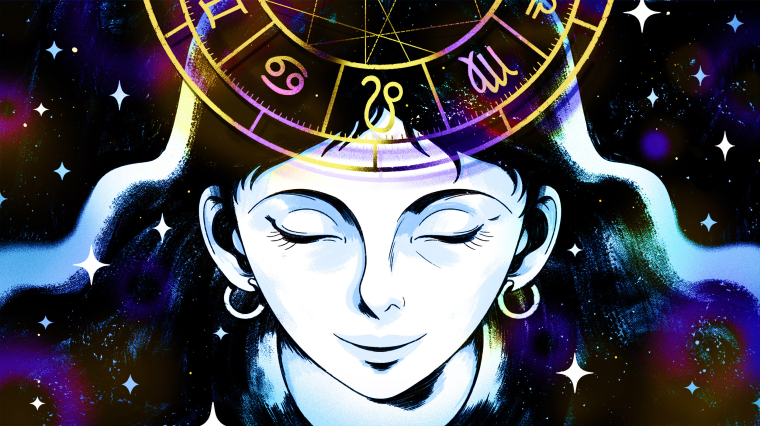 Illustration of woman's face looking serene while an astrological chart hovers above her.