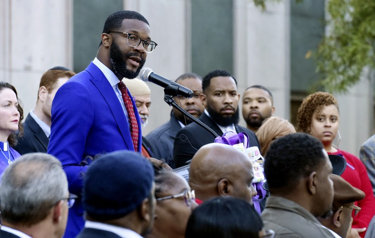 Image: Birmingham Mayor Randall Woodfin speaks at a vigil in Alabama on Oct. 23, 2019.