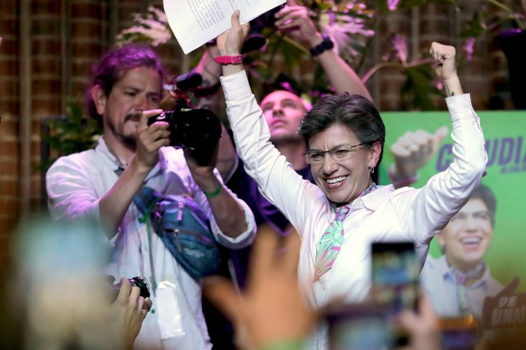 Claudia Lopez, mayoral candidate for Bogota, celebrates after winning local elections in Bogota