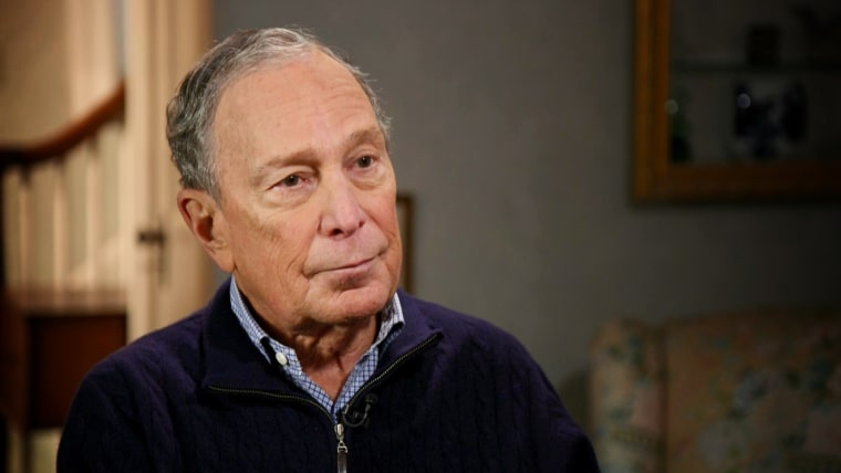 Image: Michael Bloomberg during an interview with NBC's Stephanie Ruhle on Dec. 18, 2019.