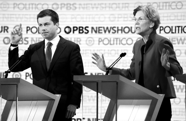 Image: Senator Warren criticizes South Bend Mayor Buttigieg during the sixth 2020 U.S. Democratic presidential candidates campaign debate at Loyola Marymount University in Los Angeles, California, U.S.