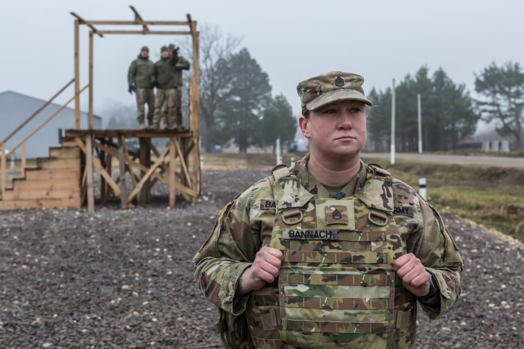 U.S. Staff Sgt. Rachael Bannach observes a training exercise in Ukraine on Nov. 26, 2019.