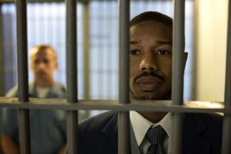 "Image: Michael B. Jordan in a scene from ""Just Mercy."""