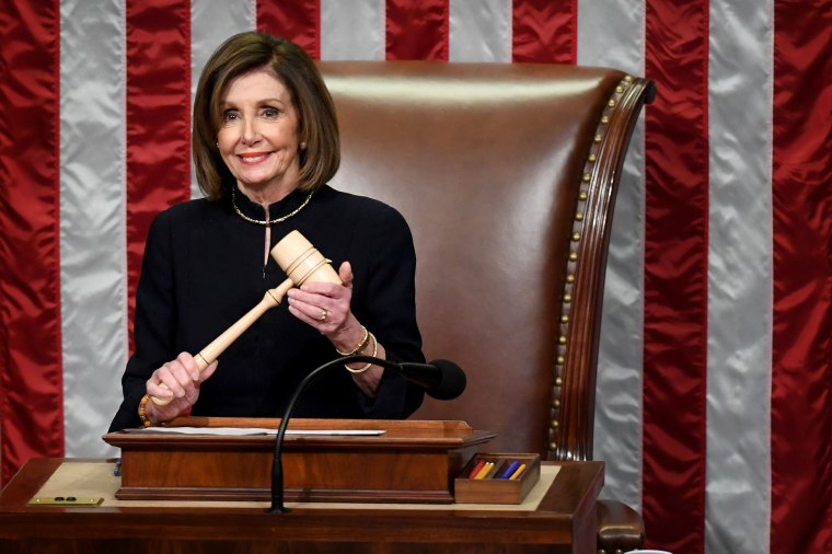 Image: House Speaker Nancy Pelosi presides over the vote for articles of impeachment against President Donald Trump at the Capitol on Dec. 18, 2019.
