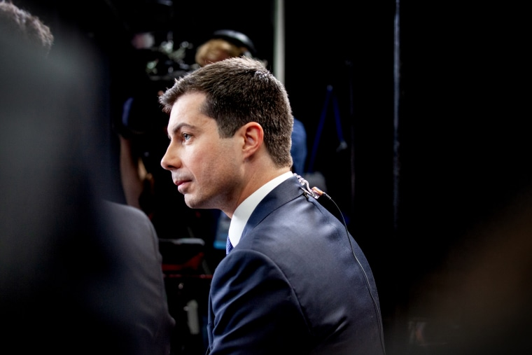 Image: Pete Buttigieg speaks with the media following a Democratic presidential debate in Los Angeles on Dec. 19, 2019.
