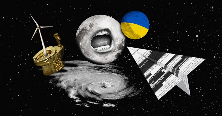 Photo illustration of a planet Ukrainian planet, a moon with a Trump mouth, a golden toilet, windmill, hurricane, and Mueller report paper airplane.