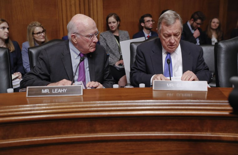 Image: Sen. Patrick Leahy, D-Vt., left, and Sen. Richard Durbin, D-Ill., right, prepare to hear testimony at the Senate Judiciary Committee on Capitol Hill