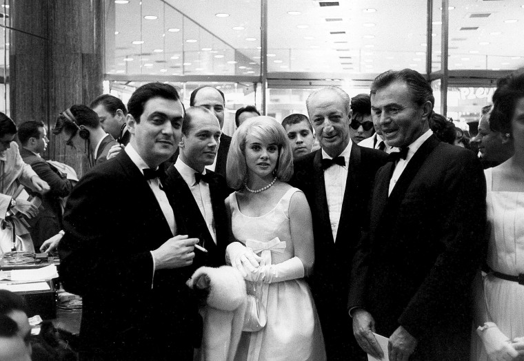 Director Stanley Kubrick, left, actor Sue Lyon, producer James B. Harris and actor James Mason.