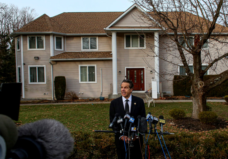 Image: New York Governor Andrew Cuomo speaks at a press conference outside the home of Rabbi Chaim L. Rottenberg after a machete attack during a Hanukkah gathering at the home in Monsey on Dec. 29, 2019.