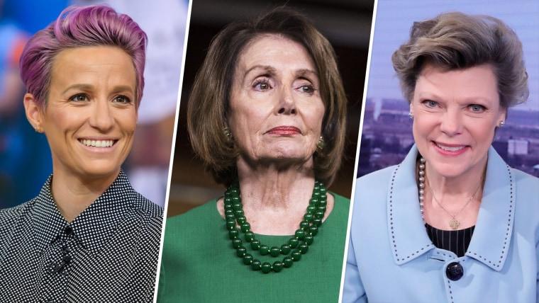 Image: Megan Rapinoe; Nancy Pelosi; and Cokie Roberts.