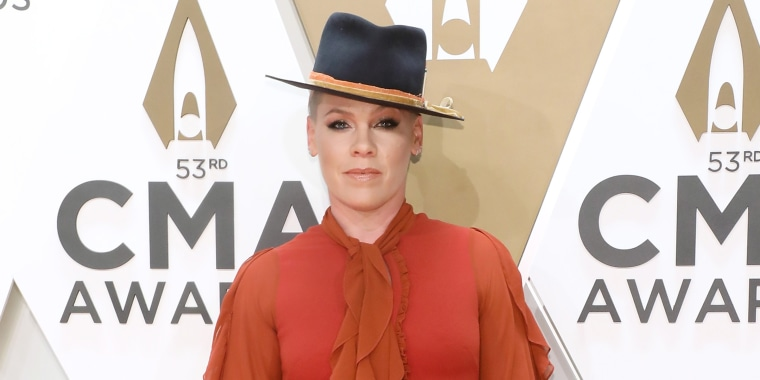 P!nk attends the 53nd annual CMA Awards at Bridgestone Arena on Nov. 13, 2019 in Nashville, Tennessee.