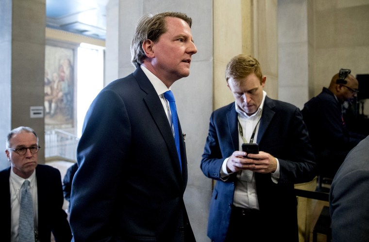 Image: Former White House counsel Don McGahn arrives at the Department of Justice on May 9, 2019.