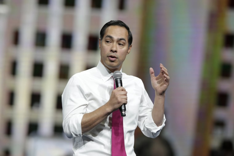Democratic presidential candidate Julian Castro speaks during the Iowa Democratic Party's Liberty and Justice Celebration on Nov. 1, 2019, in Des Moines.