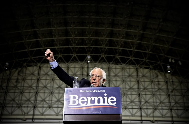Image: Sen. Bernie Sanders speaks at a campaign rally in Chicago on March 3, 2019.