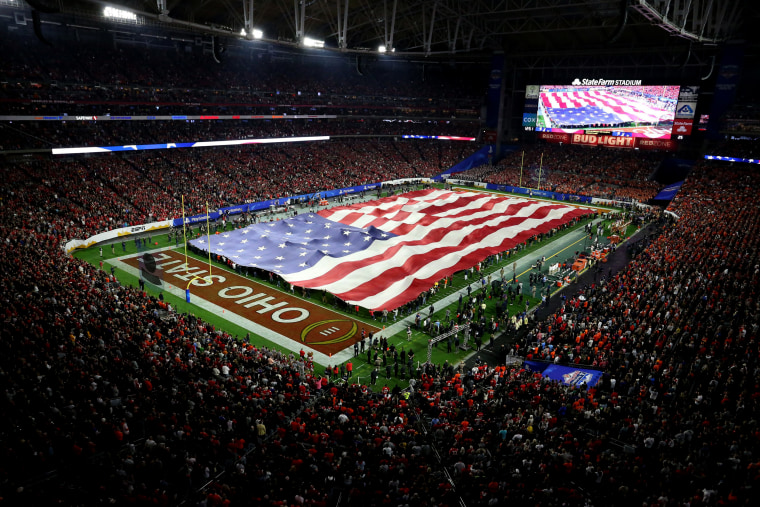 Image: The Ohio State Buckeyes were paired against the Clemson Tigers at the 2019 Fiesta Bowl at State Farm Stadium in Phoenix on Dec. 28, 2019.