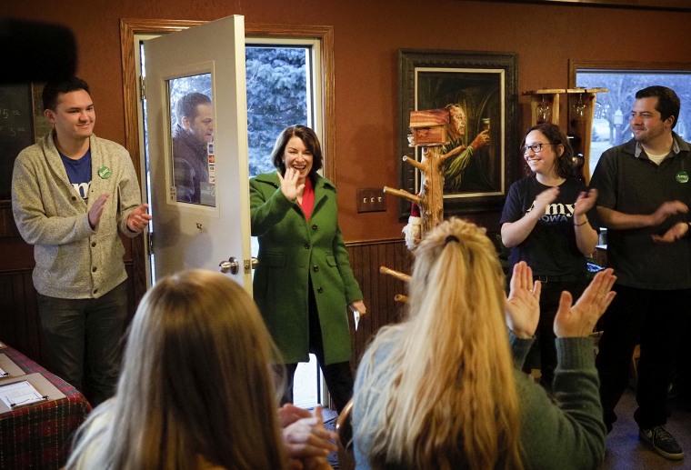 2020 Democratic presidential candidate hopeful U.S. Sen. Amy Klobuchar (D-MN) campaigns in Ida Grove, Iowa