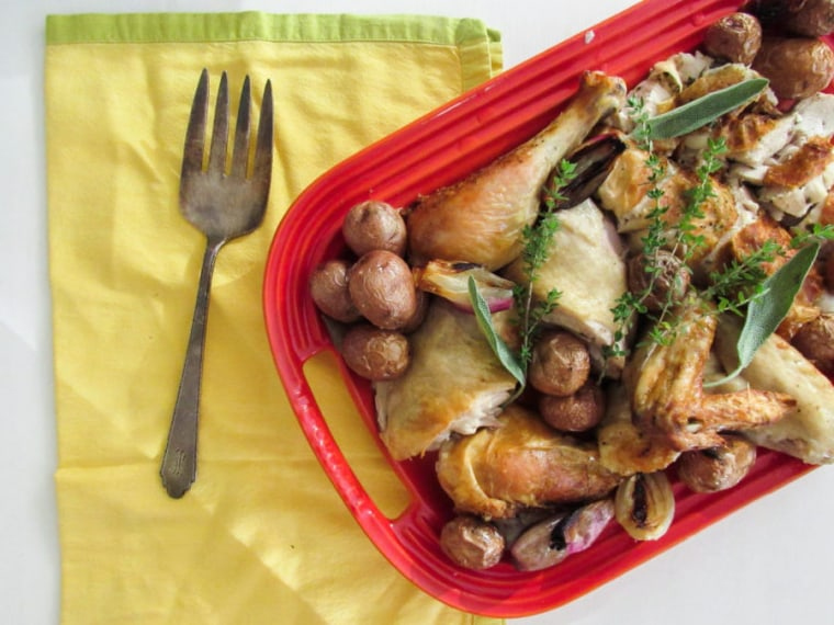 Garlicky Roast Chicken with Shallots and Potatoes