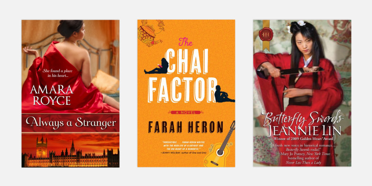 """Always a Stranger,"" by Amara Royce, ""The Chai Factor,"" by Farah Heron and ""Butterfly Swords,"" by Jeannie Lin."