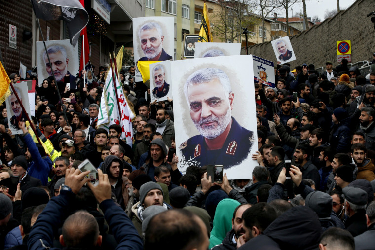 Image: Protesters gather at a demonstration against the killing of Iranian General Qassem Soleimani near the U.S. consulate in Istanbul on Jan. 5, 2020.