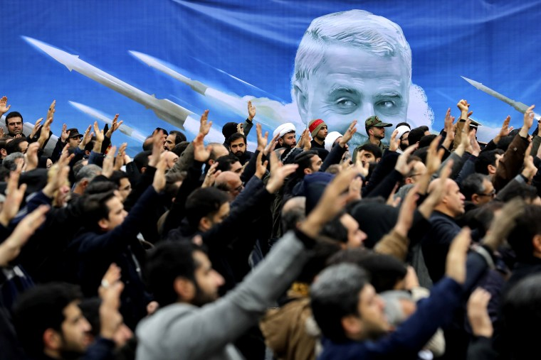 Image: Protesters demonstrate the killing of Iranian Gen. Qassem Soleimani in Tehran, Iran, on Jan. 4, 2020.