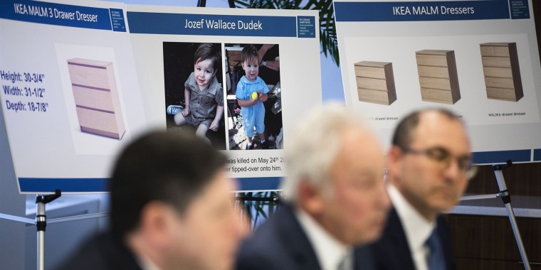 Placards showing images of Jozef Dudek and IKEA's Malm dressers are displayed during a news conference in Philadelphia, on Jan. 6, 2020.