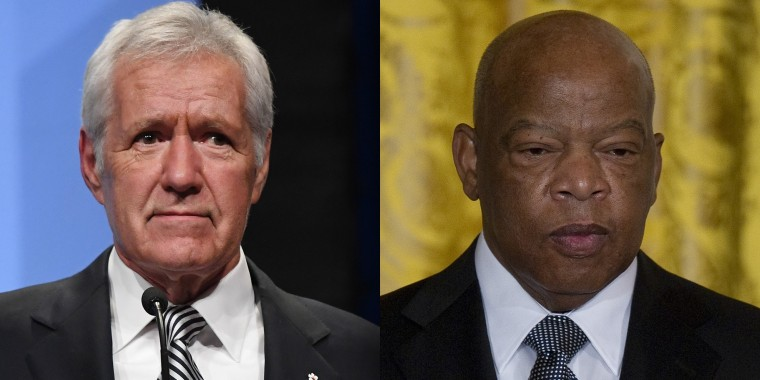 """We're starting a new year, and let's see if we can't both complete the year as pancreatic cancer survivors,"" Alex  Trebek said when asked what he would tell Rep. John Lewis. They are both 79-years-old and are facing pancreatic cancer."