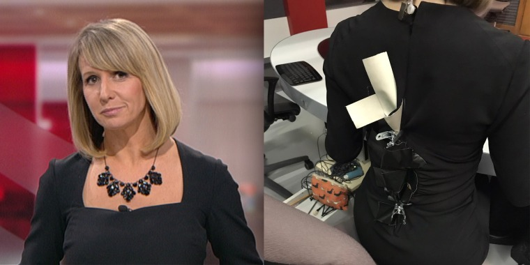 From the front, you'd never know BBC Points West anchor Liz Beacon was sporting a broken dress.