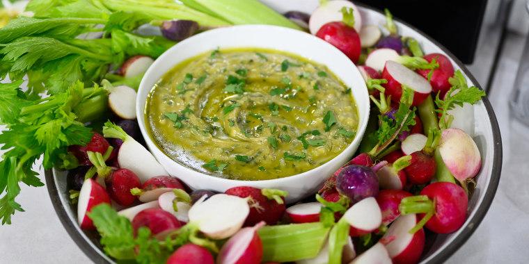 Seamus Mullen Sheet Pan Chicken + Tahini Dip + Fennel Salad