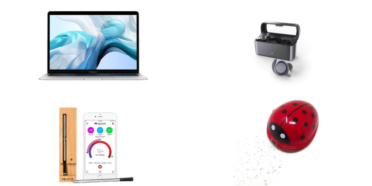 Image: Apple Macbook Air, 13-Inch; Cleer Ally Wireless Earbuds With Extended Battery Life; Honbay Ladybug Shaped Portable Corner Desk Vacuum; MEATER+165ft Long Range and Smart Wireless Meat Thermometer.