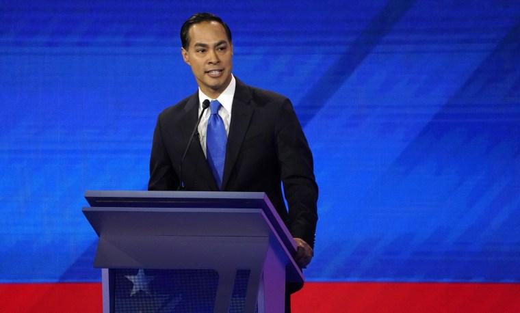 Image: Former Housing Secretary Julian Castro speaks during the 2020 Democratic U.S. presidential debate in Houston, Texas